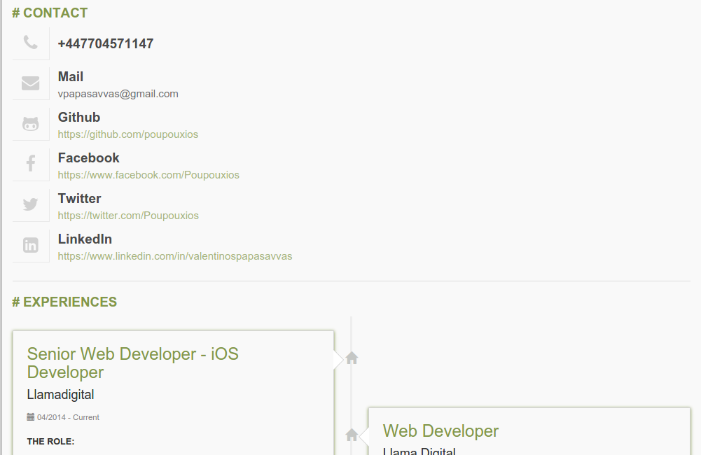 Contact Section Drupal Resume