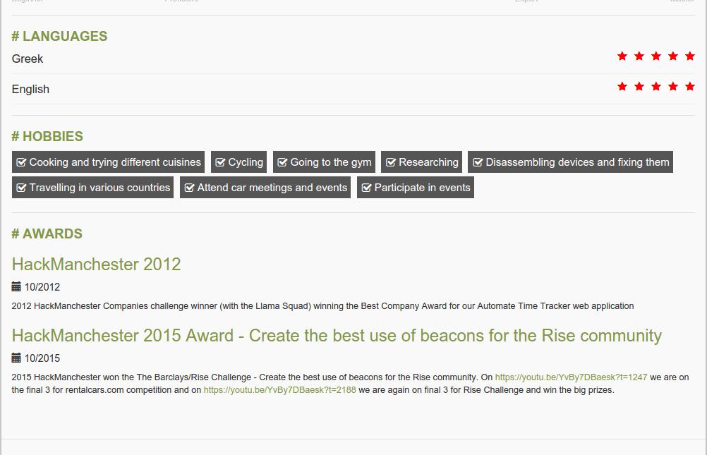 Language/Awards/Hobbies Section Drupal Resume