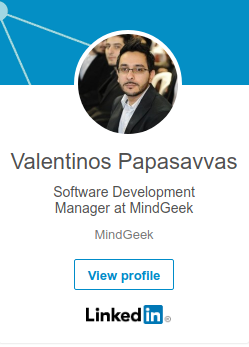 linkedin profile of Valentinos Papasavvas Senior PHP/iOS Developer