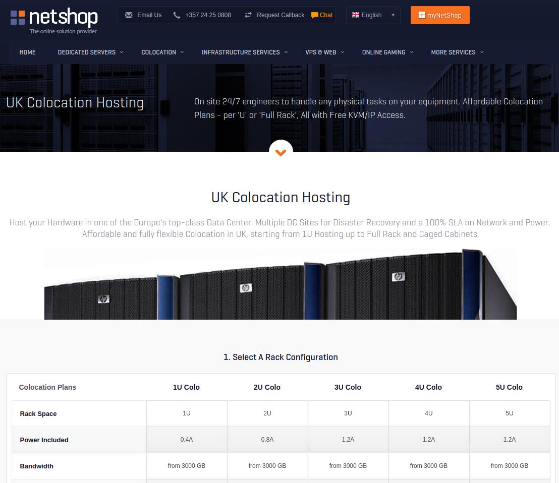 Netshop hosting server