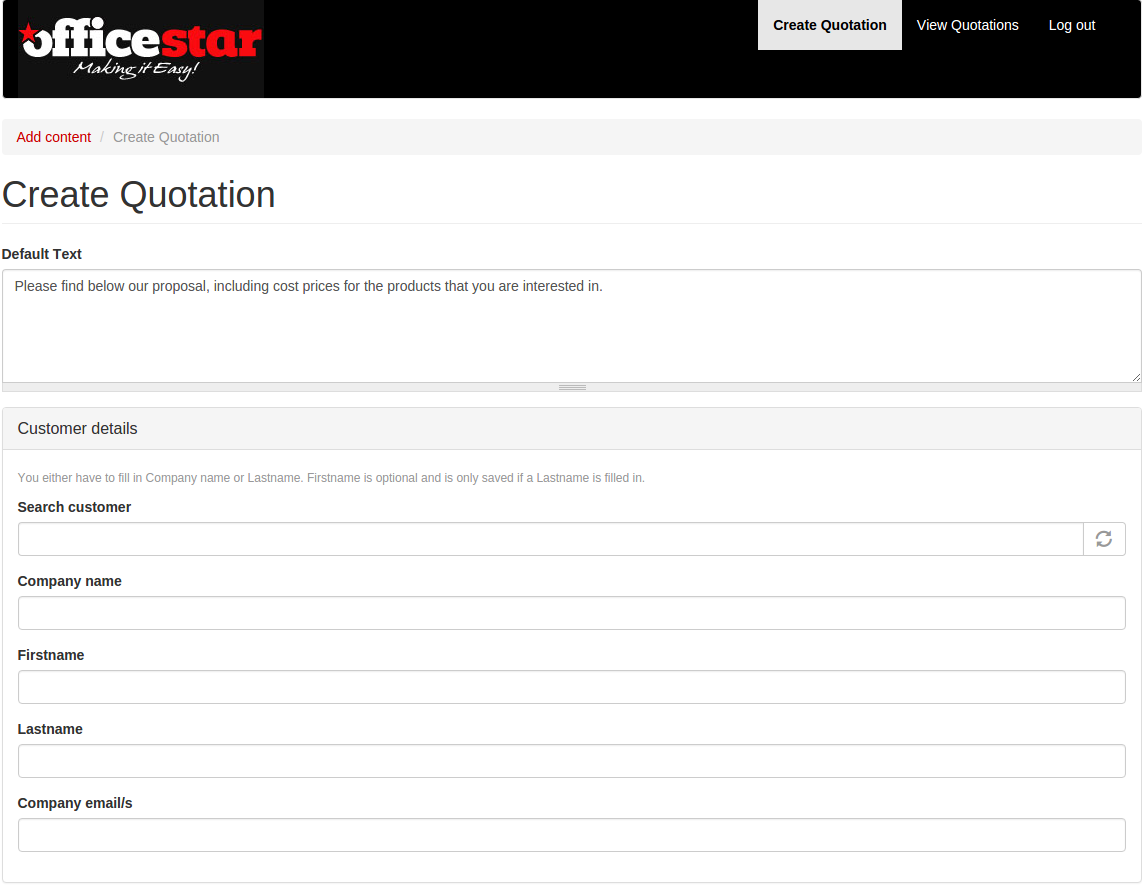 Officestar main page